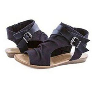 Women Sandals Gladiator Peep Toe Buckle Zipper Design Roman Sandals Women Flat Summer Beach Ladies Shoes Big Size 35-43