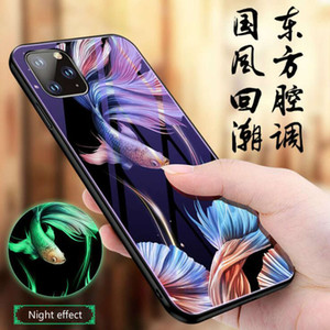 iPhone11 pro max mobile phone case luminous glass case 7   8plus suitable for Apple XSMAX plating xr protective cover airpods case