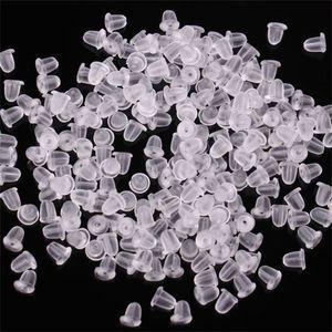 100x Clear Soft Plastic Silicone Caoutchouc En Caoutchouc Hopstud Boucle d'oreille Bouchons Dos Caps Clear Verrou Stopper Obtenir des résultats Bijoux 197 R2