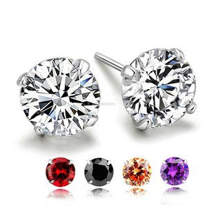Birthday Stone Earrings Crystal Cubic Zirconia Sterling Silver Stud Earrings Women Fashion Jewelry Will and Sandy Gift