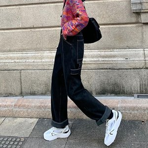 المرأة الجينز S-XL 2021 فضفاض المرأة عالية wiast مستقيم الشارع الشهير سراويل زائد المخملية سميكة الدافئة الدينيم السراويل النسائية (78395
