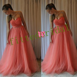 Long prom Dresses Strapless Neckline FlowTulle Summer Bridesmaid Formal Party gowns with Crystal Sash