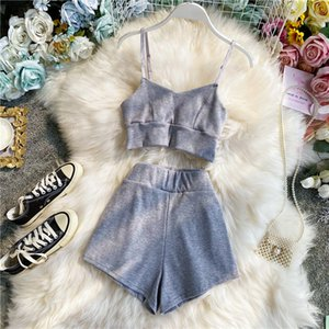 2021 New Women Sexy Two Piece Sets Summer v Neck Spaghetti Strap Tank Tops + Shorts Outfit Woman Tracksuits Pants Sportsuits Qdbl