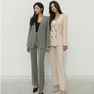Women's Blazer Set Business Wear Long Sleeve Double-Breasted Blazer Jacket Straight Pants Elegant Office Suits Spring Autumn