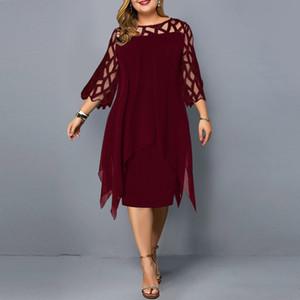 Women's Dress Plus Size Summer Dresses Ladies Elegant Mesh Sleeve Birthday Party Dress Wedding Club Outfits Women Clothing 210303