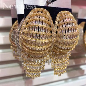 Dangle & Chandelier Ness Luxury Trendy Super Full Cubic Zircon Big Hoop Earrings For Women Wedding DUBAI Bridal Square Circle