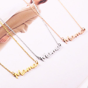 Letter MaMa Pendant Necklace for Mother Simple Smooth Clavicle Chain Necklace Jewelry Mother's Day Gift