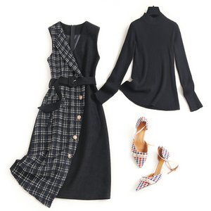 Xiaoxiangfeng suit skirt autumn and winter 2020 new semi high collar base coat vest dress two piece set 15918