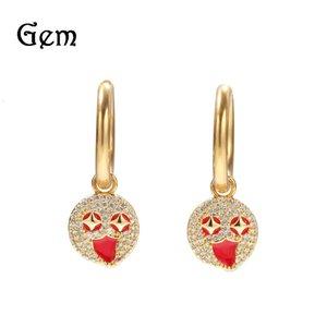 Hip hop Zircon Earrings cartoon expression Earrings trendy ins net red versatile Earrings