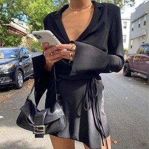 Повседневные платья Официальные рубашки Шелковый Черный Сатин Платье Слишком Длинный Рукав Для Женщин Одежда Блузка Белый Элегантный 2021 Топ Макси Осень