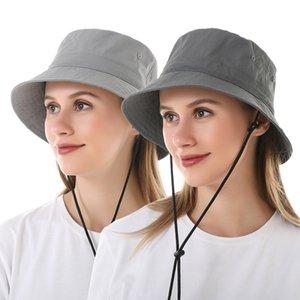 النساء دلو قبعة طوي الشمس القبعات الصيد القبعات تنفس قبعات القطن الصيف قبعة في الهواء الطلق مع حزام الذقن