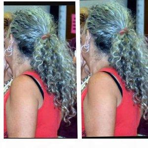 Серебристый серый волнистый кудрявый хвост 22 дюйма 1 шт. Drawstring Ponytail Hair Greate Grey Hair Усиление Природные блики окрашены бесплатно 120G 140G