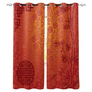 Chinese Pattern Bamboo Flowers Window Curtains Home Decor Living Room Curtains Bedroom Kitchen Items Door