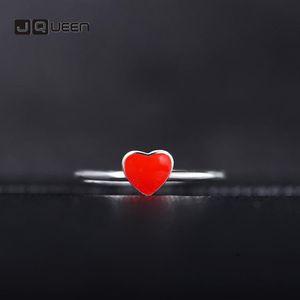 Cluster Rings Korean Version Women's Open Adjustable Ring Heart Love Red Peach Silver