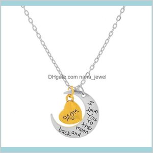 Grandma Son Sister Aunt Daughter Mom I Love You To The Moon And Back Silver Pendant Necklace Fashion Charms Pendent Gift For Mom B8Vqj Tr2Eh