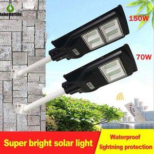 70W 150W LED Street Lamp IP65 Waterproof Outdoor Solar Street Light Wall Timer Lamp Radar Sensing Remote Control Light With Pole