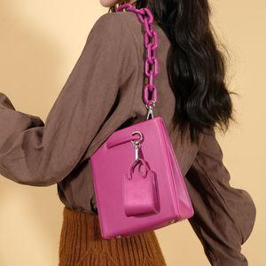 HBP 2021 New Trendy Small Design Ladies Handbag Acrylic Chain Fashion Handbag Single Shoulder Messenger Bag Beautiful Purple Thick Chain