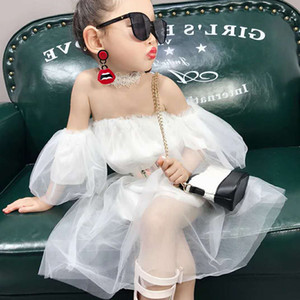 Summer Casual Baby Girls Solid Pattern Off-shoulder Sleeveless Mesh Fairy Dress Cotton Kids Toddler Sundress Super Pretty LT