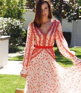 New 2021 весенний летний мода дизайнер взлетно-посадочная полоса женские V шеи цветочный принт Элегантный отдых шифон ES PR5U