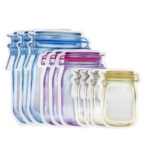 Reusable Mason Jar Bottles Bags Nuts Candy  Bag Waterproof Seal Fresh Food Storage Snacks Sandwich Zip Lock free DHL