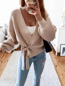 Printemps Femmes Casual Cardigan Cardigan Manteau 2020 V-cou de col en V Pull en tricot Solide Couleur Solid Couleur Automne Hiver Chaud Top