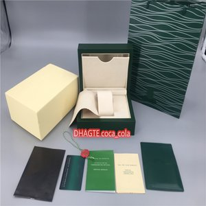 Лучшие высокое качество AAA + роскошные часы Green Box Papers Подарочные часы Коробки Кожаная сумка Card 0,8 кг для Rolex Наручные часы Сертификат + сумочка