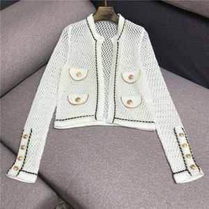 Autumn and winter new inlaid Phnom Penh hollow out solid color gold button British style knitted cardigan women's net red sweater coat