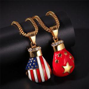 Hip Hop Rhinestones Gold Necklace Fashion American Flag Boxing Gloves Pendant Necklace for Men Cuban Link Chain cadena hombre