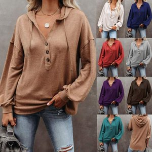 Women's top 2020 new autumn and winter solid color loose hooded sweater