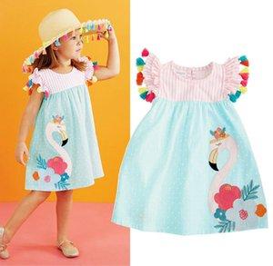 1-6 년 여름 소녀 플라밍고 프린트 아기 소녀 캐주얼 동물 드레스 SUNDRES