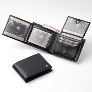 Mens véritables Portefeuilles Cuir Men Portefeuille Crédit Credit Porte-cartes Vintage Black Cuir Portefeuille Porte-monnaie Noir Haute Qualité Noir