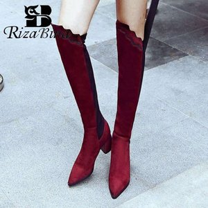 RIZABINA Sexy Pointed Toe Over The Knee Boots For Women Winter Warm High Heels Stretch Boots Women Footwear Plus Size 32 48 Football B C1sM#