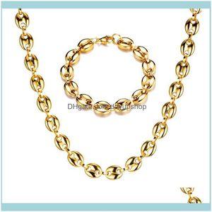 Kolye Kolye Jewelryhip Hop Genişliği 11mm Çelik Altın Sier Renk Kahve Çekirdekleri Link Zinciri Kolye Erkekler Için 316L Paslanmaz VP823 Bırak Deliv