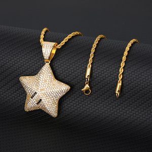 Bling Drip Star Necklaces Pendant Mens Women Iced Out Cubic Zircon Tennis Chain Pendant Gold Silver Color Hip Hop Jewelry10