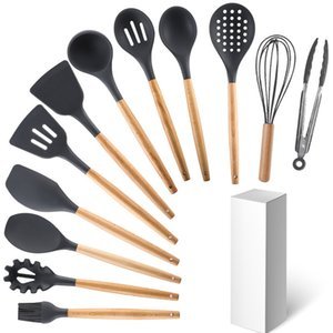 Wooden Handle Silicone Kitchenware Set 12-Piece Non-Stick Pan Kitchenware High Temperature Resistant Kitchen Cooking Spoon and Shovel Baking