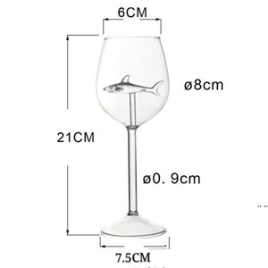 Fashion Standing Cups Shark Originality Transparent Elegance Long Stemmed Glasses Woman Man Drinking Tools Goblet HWD5128