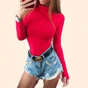 2021 New Women Long Sleeve Spring Jumpsuit Streetwear Party Playsuit Elastic Fit Tutleneck Jumper Woman Solid Color Female Bodysuit Hsqc