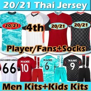 Liverpool FC soccer jersey Whult+Kids Kits+Носки 20 21 Вентиляторы+Игрок Версия для игрока Футбол Джерси 2020 2021 VIRGIL FIRMINO MANE M.SALAH HENDERSON Футбольные майки