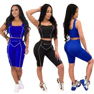 Summer joggers suit 2 pcs outfits Women Tracksuits Tank Tops shorts casual sweatsuits letter sportswear XL clothes Sleeveless T-shirts 2748