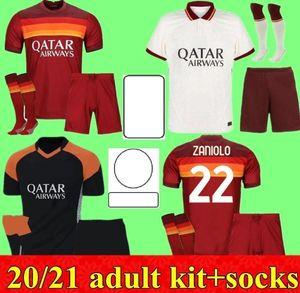 Novo 2020 2021 Shaarawy Dzeko Homens Kit de futebol Jersey 20 21 Pastore Perotti Totti de.Rossi Kits Adult Camisetas Camisa de futebol