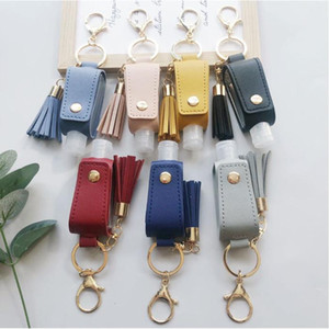 Sanitizer Bottle Cover PU Leather Tassel Holder Keychain Protable Keyring Cover Storage Bags Home Storage Organization YHM468