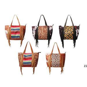Leopard Fringe Messenger Bag Party Supplies Striped Patchwork Tassel Crossbody Bags Women Hippie Tassels Handbag by sea OWB11285
