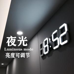 Diseño moderno 3D LED Reloj de pared moderno Digital Relojes de alarma Displazamiento de la sala de estar de la oficina Oficina de la mesa de la mesa de la mesa de la pared Mostrar 46 S2