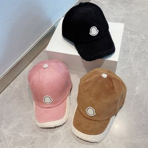 Baseball Caps Fashion Bucket Hat Corduroy Lambs Wool Patchwork Design for Man Woman Ball Cap 3 Color Top Quality
