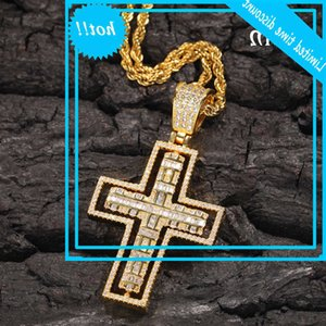 2020 new hip hop rotatable Double Cross Necklace creative fashion men's and women's trendy Zircon Pendant accessories