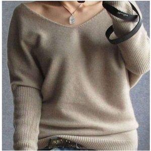 18 Primavera y otoño Nuevas mujeres Cuello en V Cashmere Fashion Fashion Sweater Large Suéter Bate Suéter de fondo de fondo