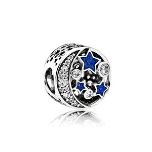 Authentic 925 Sterling Silver Blue enamel Stars and moon Charms Original box for Pandora Beads Charms Bracelet jewelry making