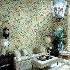 Wellyu High - конец лобби банкетный зал обои обои фона супер - зеленый китайский стиль цветы богатая птица
