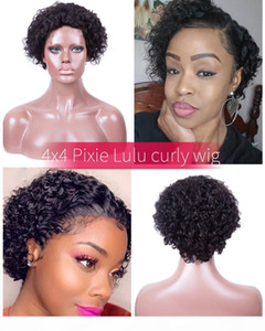 LULU Curl Virgin Human Hair Human Hair Wig Hot Selling Pixie Curl Human Hair Lace Wig Lace Size 4by4