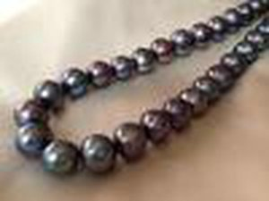 12 -14mm Peacock Black Cultured Freshwater Pearls Near Round Loose Beads 15 Inches